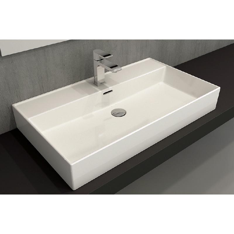 Νιπτήρας μπάνιου επικαθήμενος Bocchi Milano 80x46 λευκός