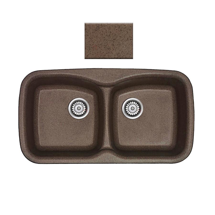 Νεροχύτης συνθετικού γρανίτη Sanitec Silk 319 2B 93x51cm Granite Rust