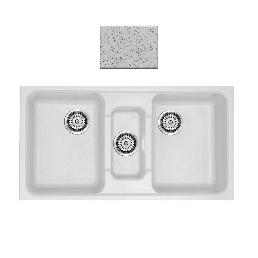 Νεροχύτης συνθετικού γρανίτη Sanitec Harmony 325 2,5B 97x51cm Granite White