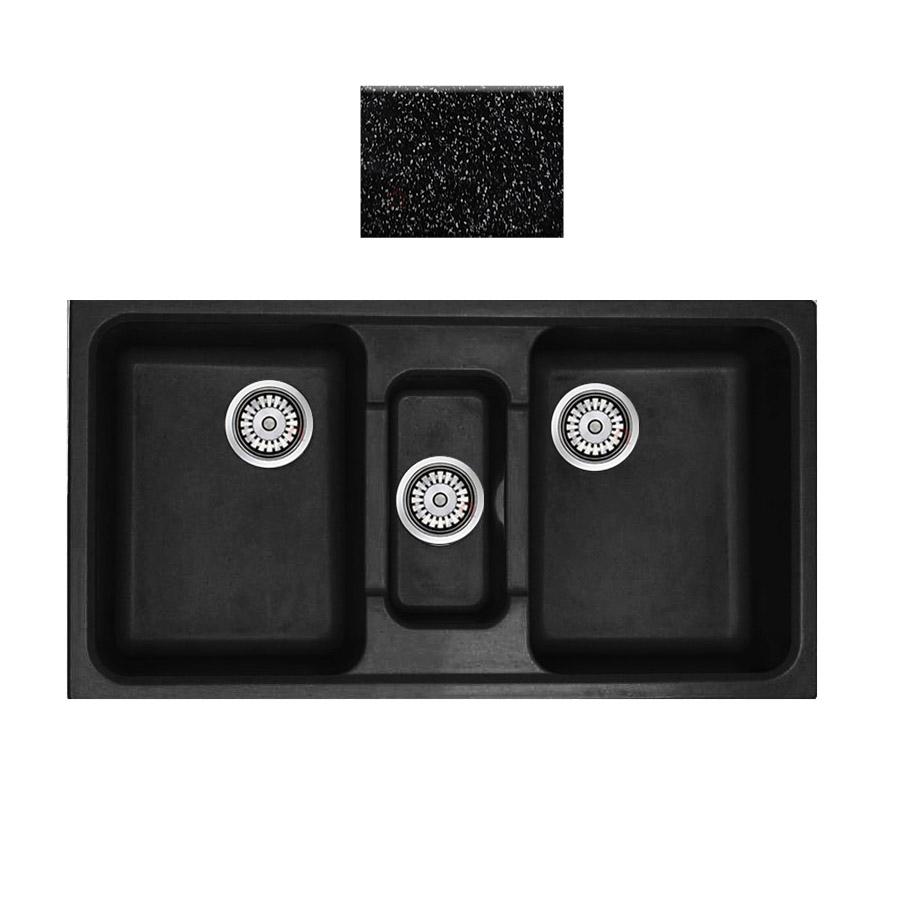 Νεροχύτης συνθετικού γρανίτη Sanitec Harmony 325 2,5B 97x51cm Granite Black