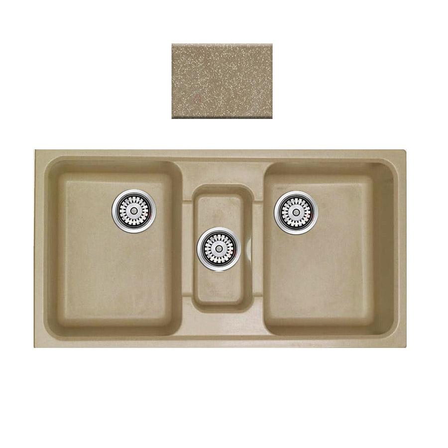 Νεροχύτης συνθετικού γρανίτη Sanitec Harmony 325 2,5B 97x51cm Metallic Cream