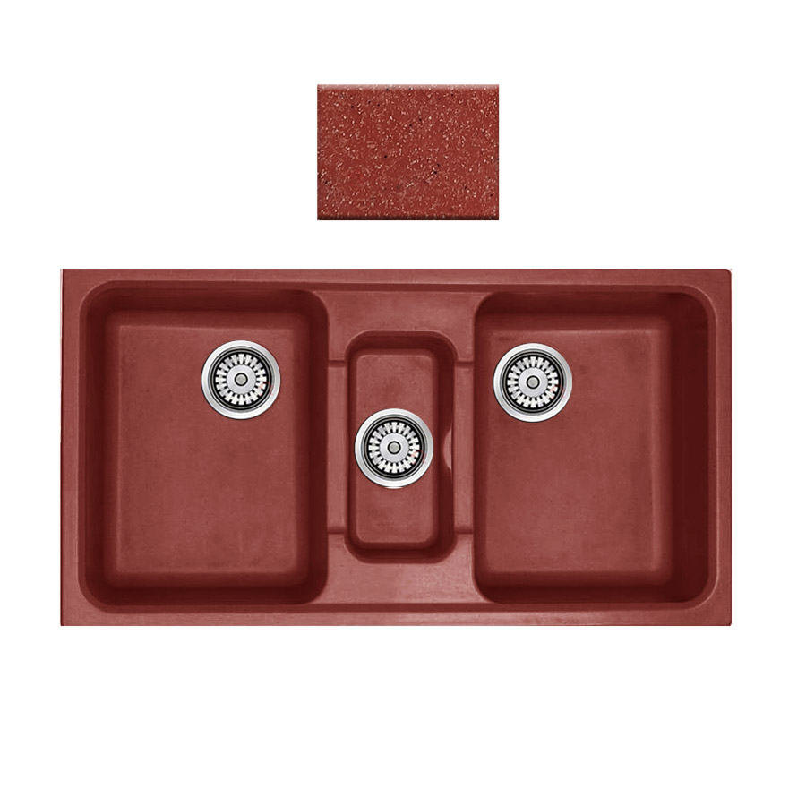 Νεροχύτης συνθετικού γρανίτη Sanitec Harmony 325 2,5B 97x51cm Granite Terracotta
