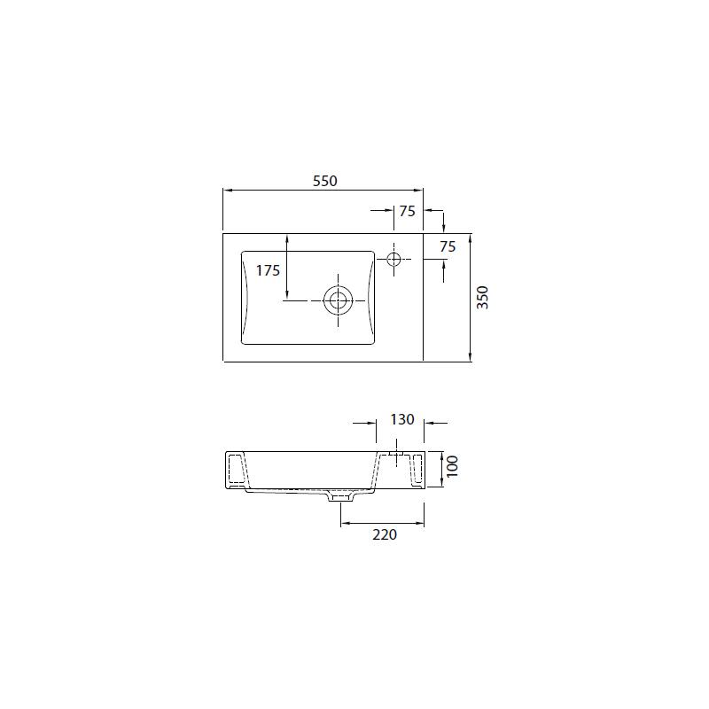 Νιπτήρας Κρεμαστός 55x35 KARAG MINOS 4056