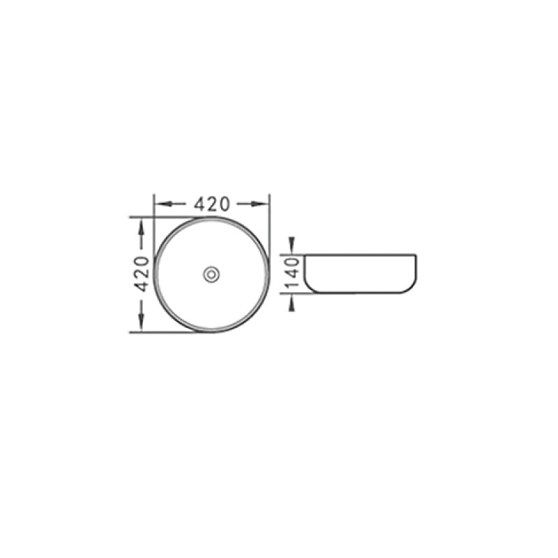 Νιπτήρας μαύρος ματ στρογγυλός  επικαθήμενος  Ø 42 KLP Vera 444939