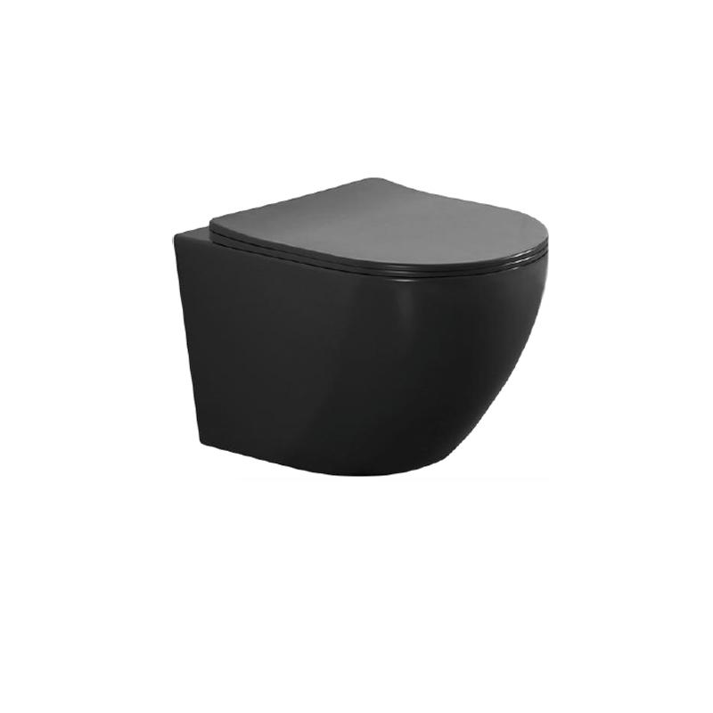 Λεκάνη  Κρεμαστή Μαύρη Ματ Rimless Klp Vera με κάλυμμα 444940MB