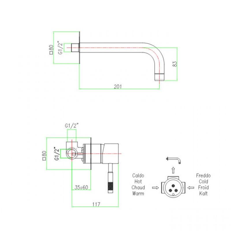 Μπαταρία εντοιχισμού Νιπτήρα  Χρωμέ Fiore Xenon 44cr5227