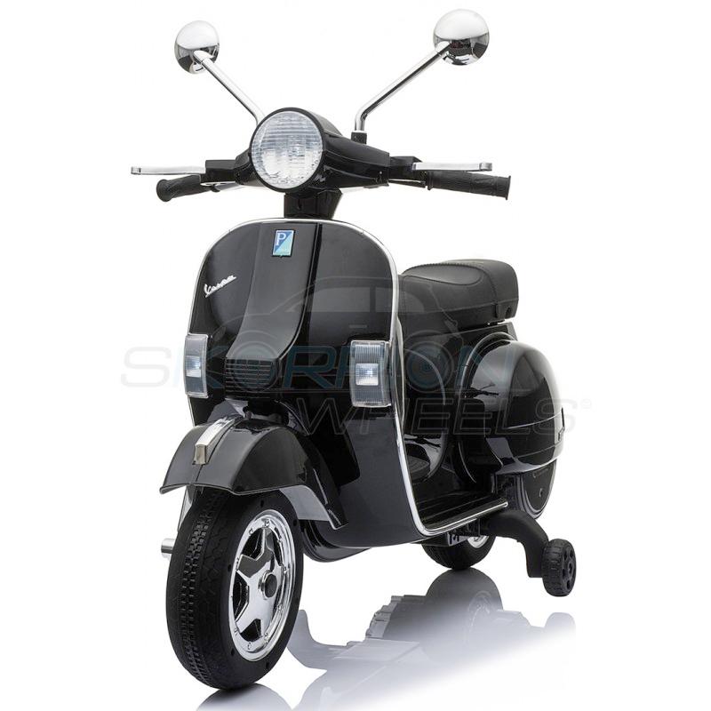 SkorpionWheels Ηλεκτροκίνητη παιδικη μοτοσυκλέτα / μηχανή Vespa Piaggio 12v Μαύρη 5245050