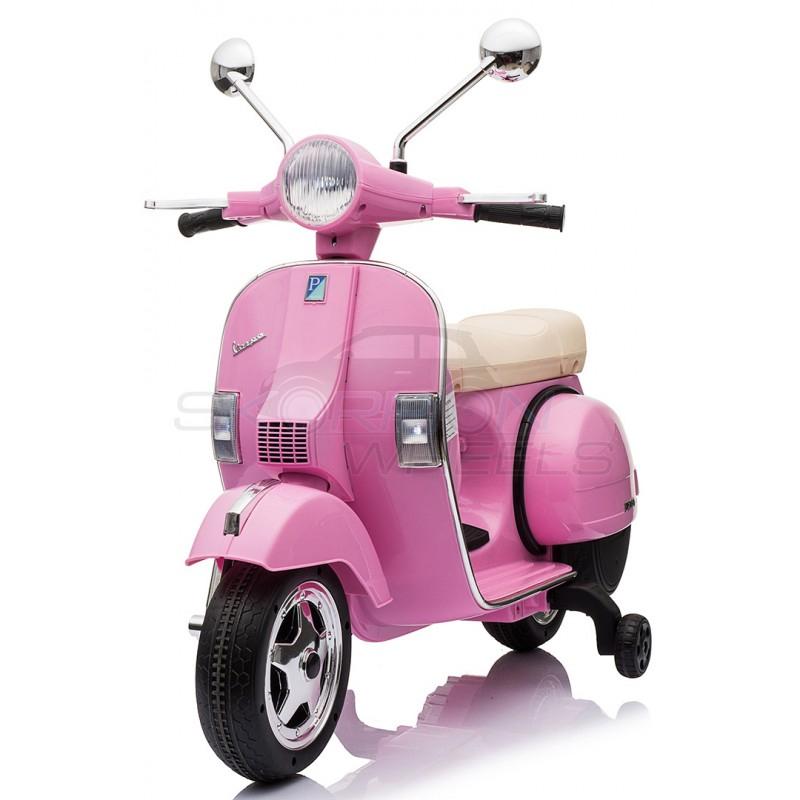 SkorpionWheels Ηλεκτροκίνητη παιδικη μοτοσυκλέτα / μηχανή Vespa Piaggio Licenced 12v Ροζ 5245050