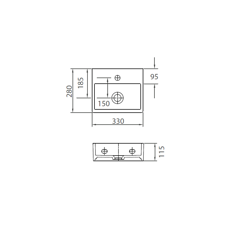Νιπτήρας Κρεμαστός 33x28 KARAG DAPHNE 53706