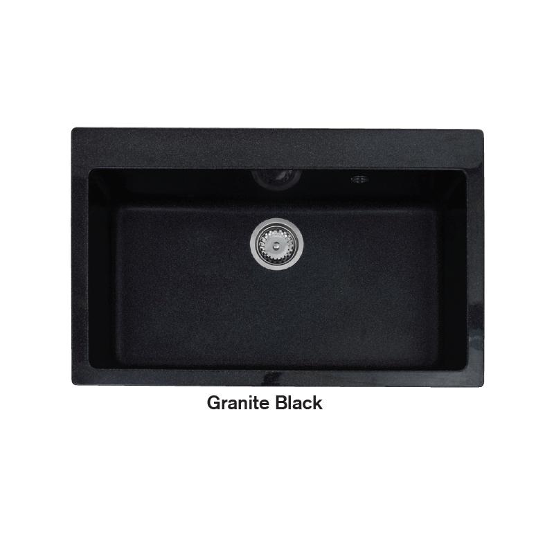 Νεροχύτης Γρανίτη 78,5Χ49,5 CROWN R - 81 ECONOMIC Granite Black