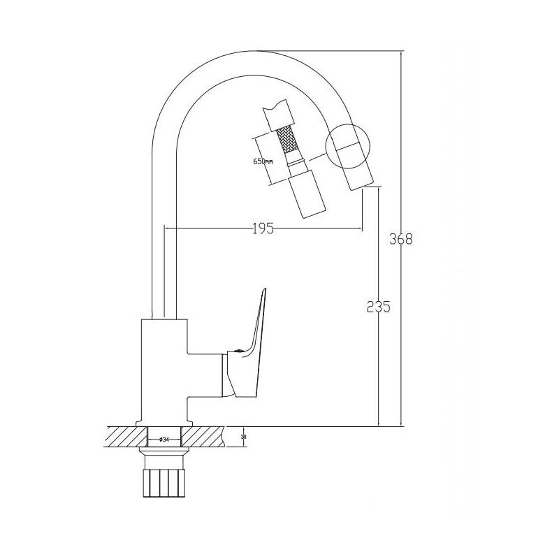 Μπαταρία κουζίνας με αποσπώμενο ντουζ  KLS Lux 699018