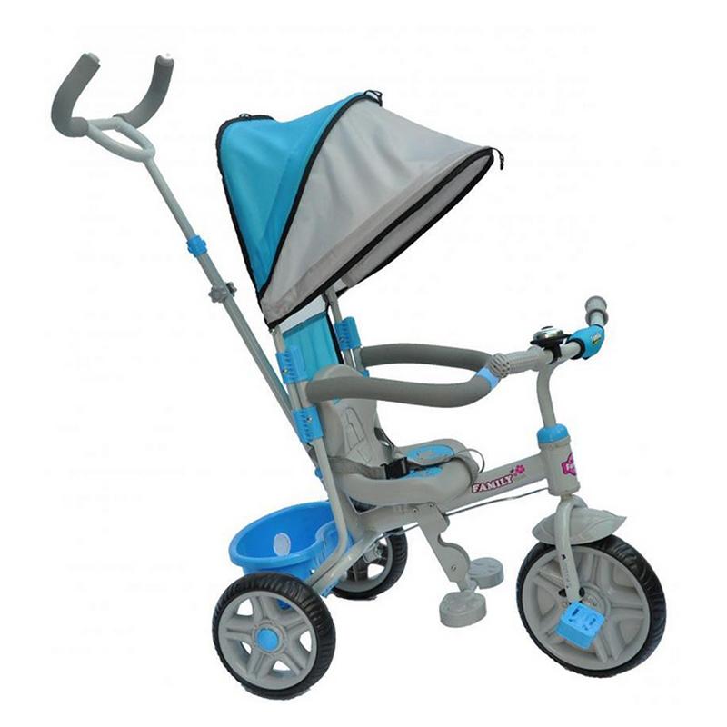 Παιδικό τρίκυκλο ποδήλατο Μπλε FAMILY με μπάρα καθοδήγησης και τέντα F988