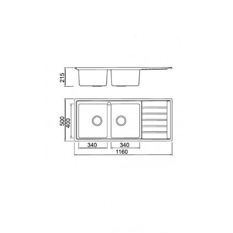 Νεροχύτης Inox KARAG BL 658 116 x 50 cm 2Β 1D