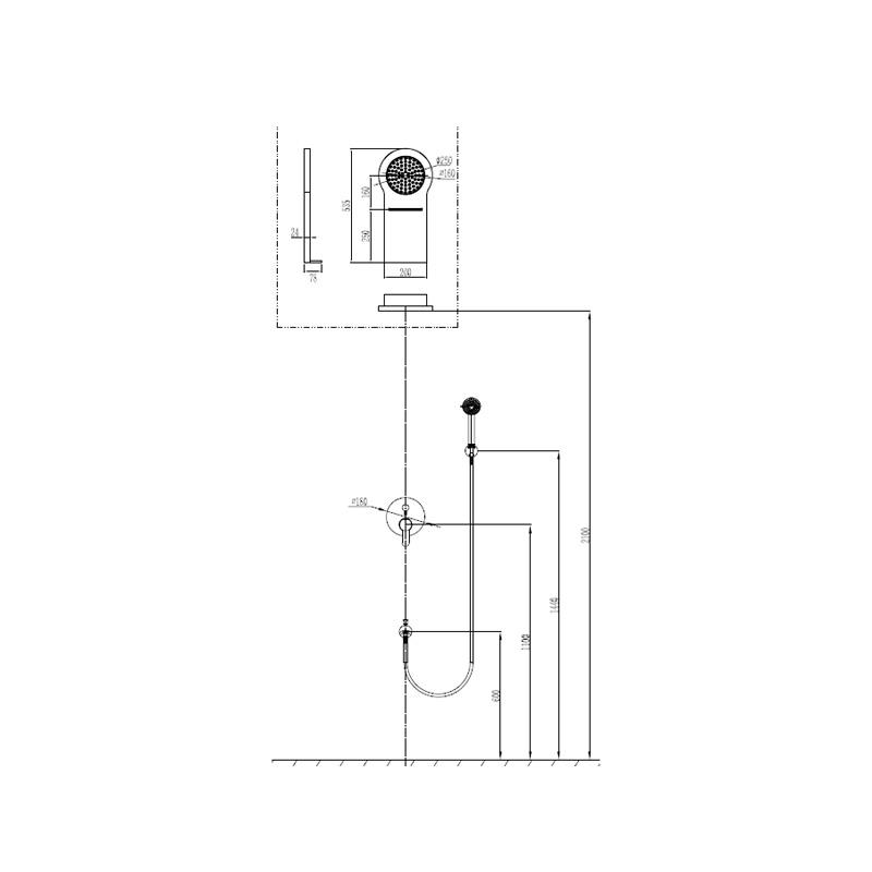 Εντοιχιζόμενο σετ ντούζ PRAXIS New Zoe Cascada με σταθερή κεφαλή, ρουξούνι και τηλέφωνο
