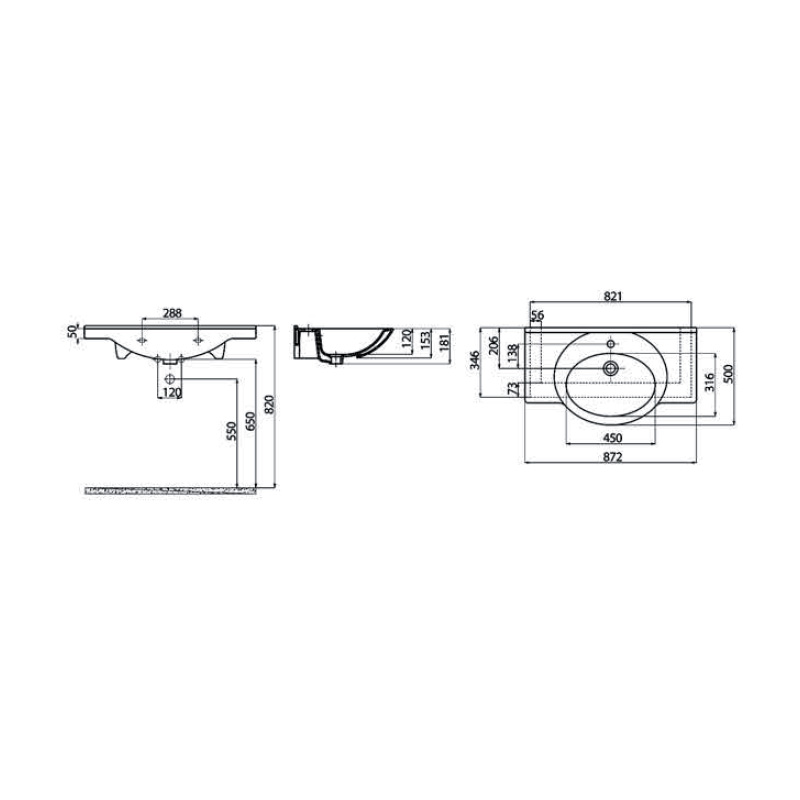 Νιπτήρας επίπλου 87x50 cm CREAVIT Smile ET085
