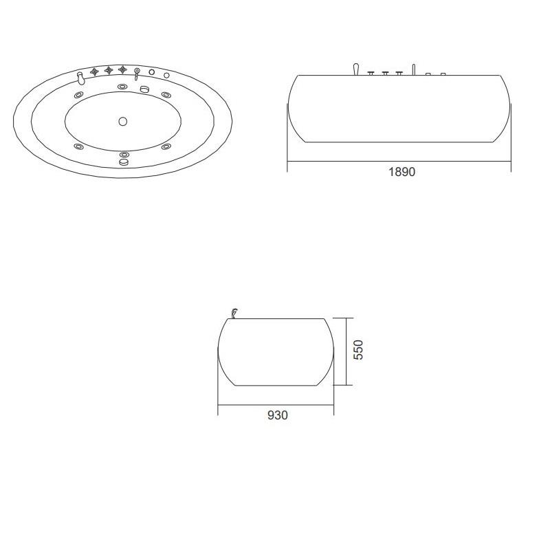 Μπανιέρα Υδρομασάζ Ελεύθερης τοποθέτησης Karag Diana K-1212 189x93