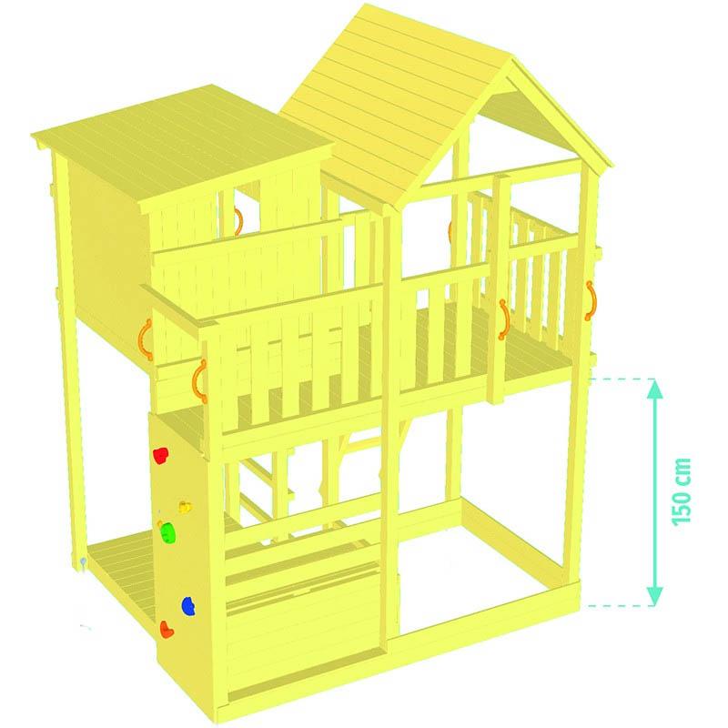 Ξύλινος Παιδικός Πύργος Bleu Rabbit Palazzo ύψος τσουλήθρας 150cm