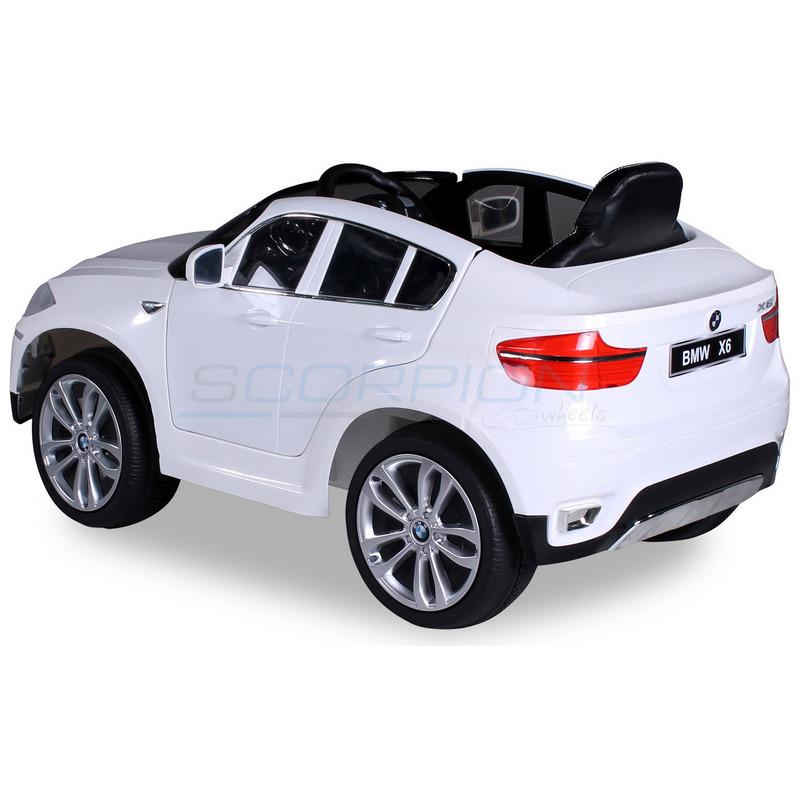 ScorpionWheels Ηλεκτροκίνητο παιδικό αυτοκίνητο Licenced BMW X6 Δερμάτινο κάθισμα 12v με τηλεκοντρόλ Λευκό 5247056